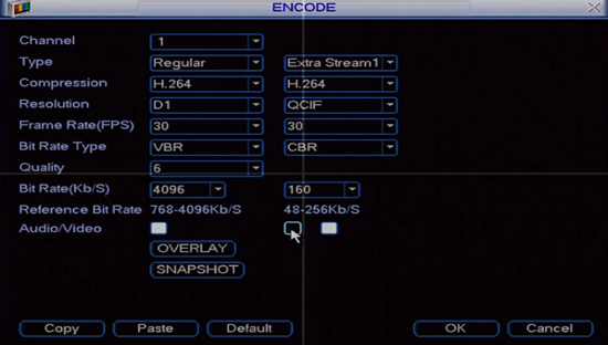 Enabling Audio in the Encode Options